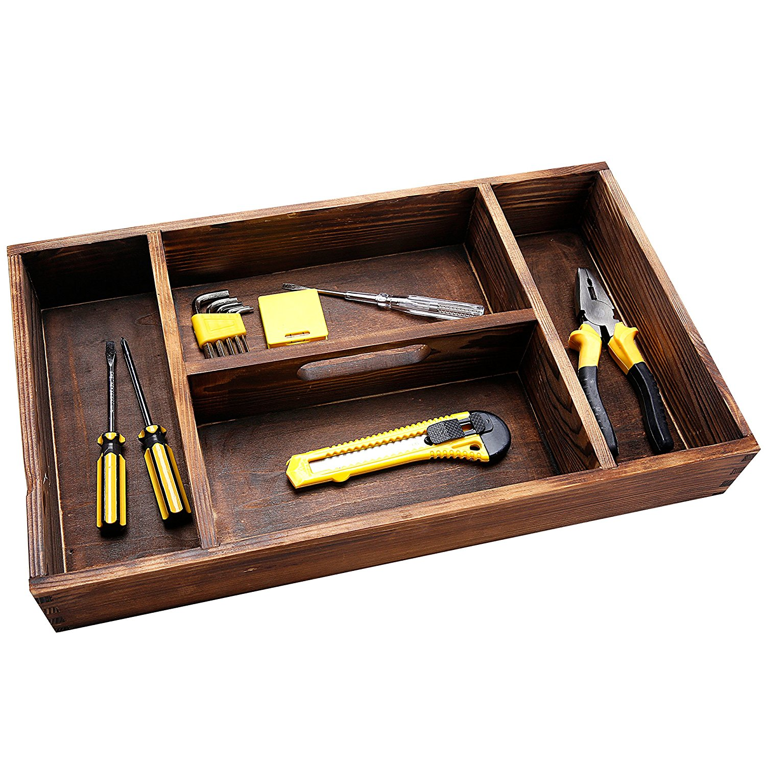 4 Compartiment Torched Hout Office Supply Lade Keuken Bestek Organizer
