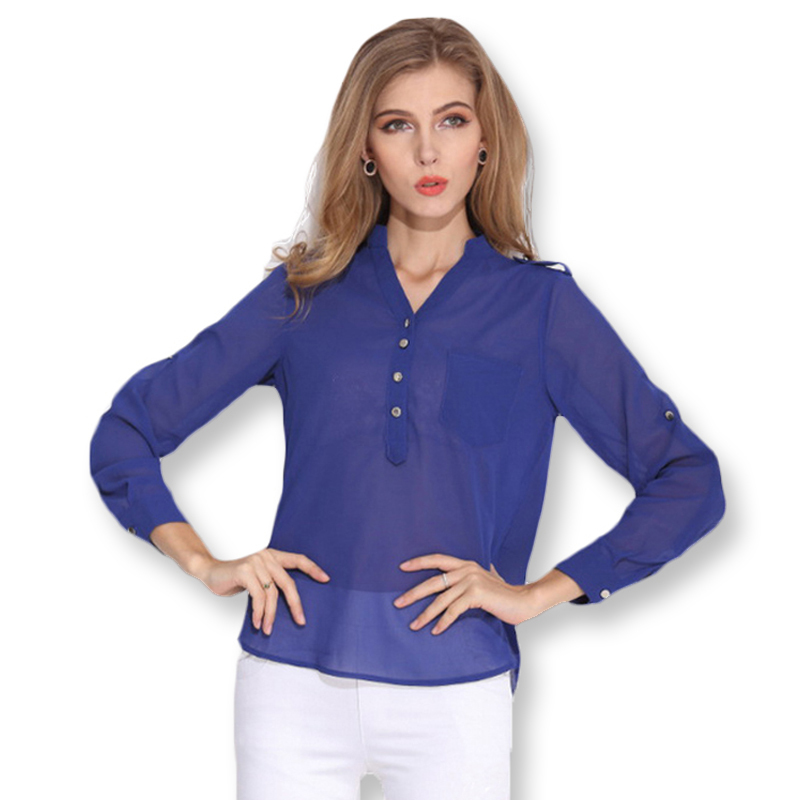 V Neck Loose Button Solid Women Chiffon Blouse Blue Black White Chiffon Casual Blouse 2015 Long Sleeve Chiffon Blouse Tops A0001
