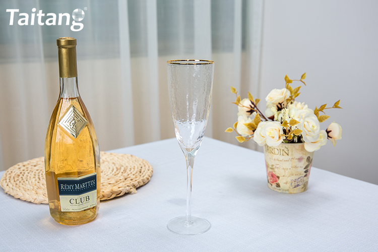 Custom Gold Rim Champagne Fulte Glasses Wedding Party Gold Champagne Flute Glass