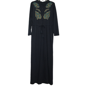 Female Everyday Wear Pima Cotton Jersey O-neck Long Sleeve Sash Buttons Decorated Maxi Dress with Front Embroidery