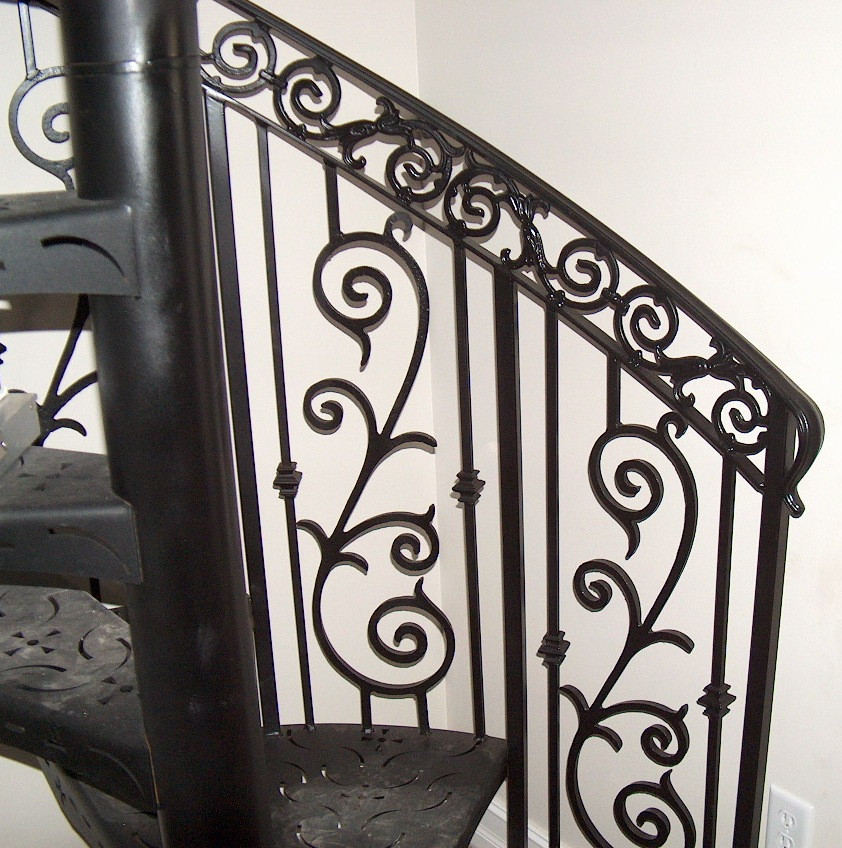 Residential rustproof decorative wrought iron indoor stair