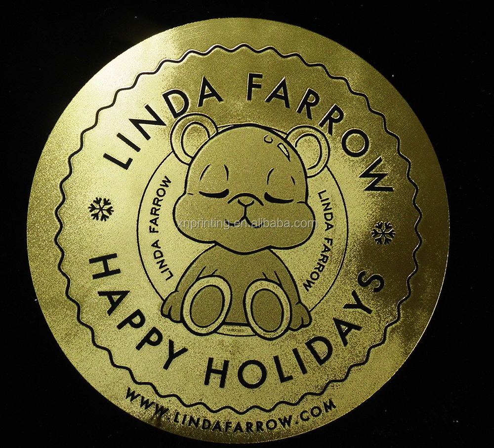 funny golden foil car labels with embossing for warnning