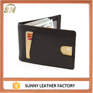 custom hot selling men leather wallet money clip RFDI blocking clip wallet