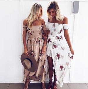 Boho style long dress women Off shoulder beach summer dresses Floral print Vintage chiffon maxi dress vestidos de festa