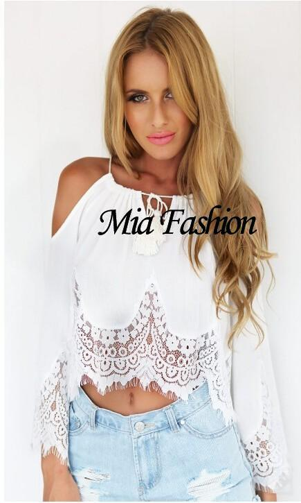 mia fashion 2015 woman clothing bohemian lace strapless top stitching blouse offshoulder long. Black Bedroom Furniture Sets. Home Design Ideas