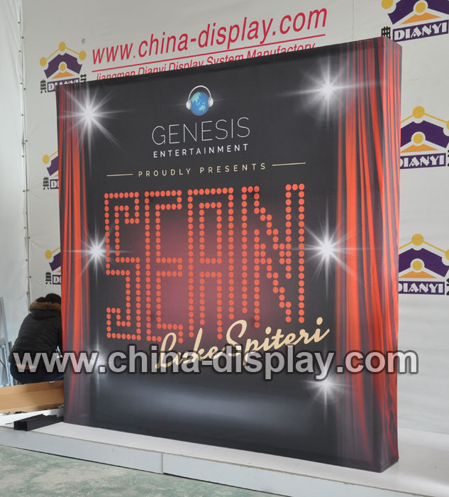 8feet 10feet Trade show display straight curve fabric pop up display system