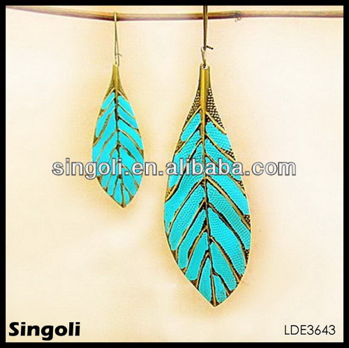 ELEGANT enamel turquoise leave alloy DANGLE Earrings 2014 ebay earring elegant dangle fashion earrings for women jewelry