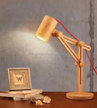 Decoration Lighting Vintage Edison Bulb Wooden Base Table Lamp With Round Clear Gl Modern Lamps