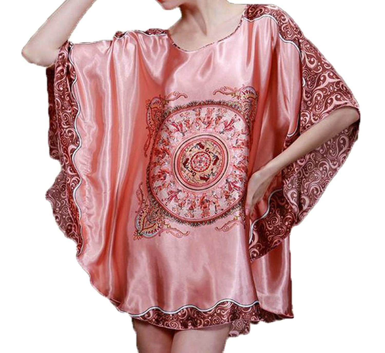 Get Quotations · JWK Women Plus Size Dress Faux Silk Short Sleeve Sleepwear  Batwing Sleeve Silk Nightgowns 6ec71ab03