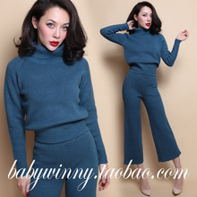 FREE SHIPPING 2016 New Vintage Peacock Blue Thick Warm Knitted Turtleneck Short Sweater And Wide Leg