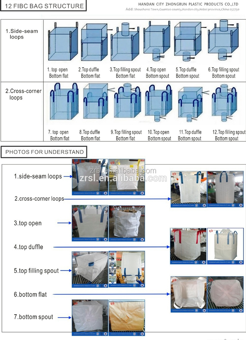 e202912d434 FIBC jumbo ton bag 1000kg with loading spout feed bags or for bulk lime  with factory