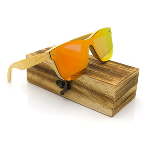 New Arrival One piece Polarized lens wood Bamboo Sunglasses with Case