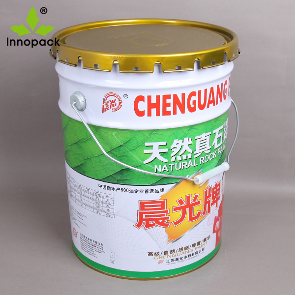 20L metal pail custom paint bucket with crown lid conical metal chemical container