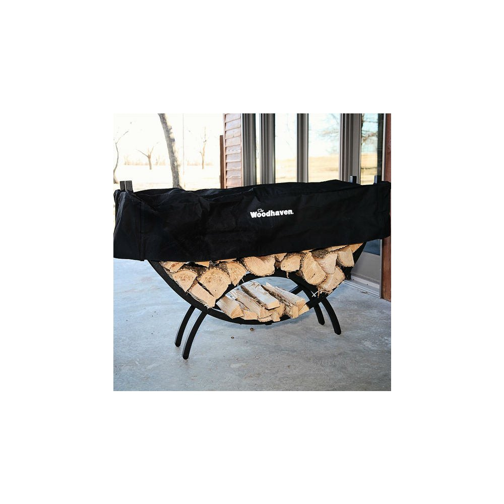 QBC Bundled Woodhaven Firewood Rack - 60-CRES - Medium Crescent Firewood Rack - Black - (60in x 34in x 15in) with Standard Cover - Plus Free QBC Firewood Rack eGuide