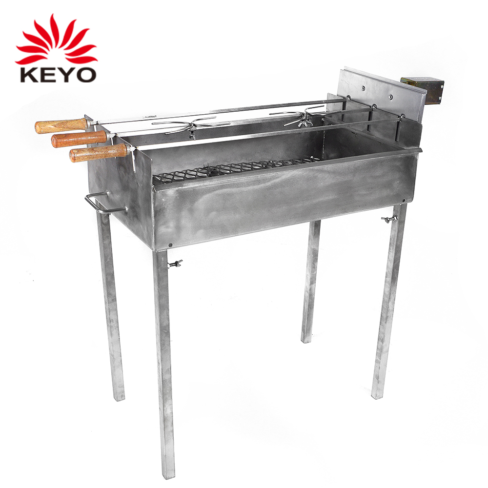 4 Skewers Rotisserie System charcoal Firm In Structure 100% True Authentic Brazilian Bbq Grill