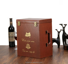 Made in china PU leather wine carrier, wine case, wine storage box for 6 bottles