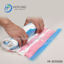 Roll up travel compressed vacuum bag for business and family travel with no valve