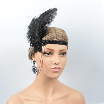 Vintage 1920s Black Feather Gatsby Flapper Headband Costume Party Hair Accessories