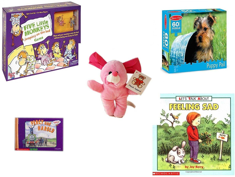 4311374e41a Children s Gift Bundle - Ages 3-5  5 Piece  - Five Little Monkeys Jumping  On The Bed Game - Melissa   Doug Terrier Puppy Pail 60 Piece Puzzle Toy -  Plush ...