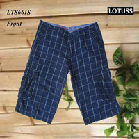2016 wholesale big plaid soft fabric 100% cotton yarn dyed shorts