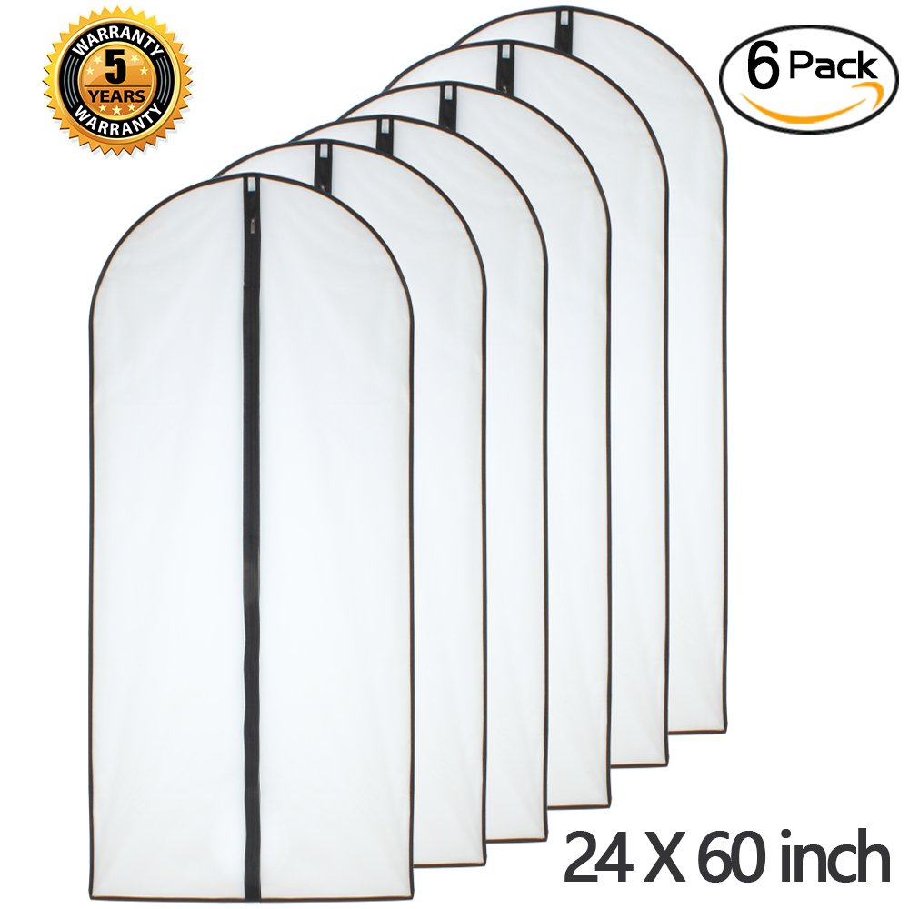 Moth Proof Garment Bags 24'' x 60'' ( Pack of 6 ) Black Side Breathable Clear Full Zipper Bags for The Much Longer Wedding Evening Dress Clothes