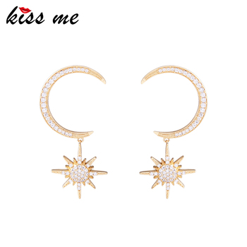 Me0044 Real Gold Earrings Moon And Star Crystal Dubai Jewellery Designs