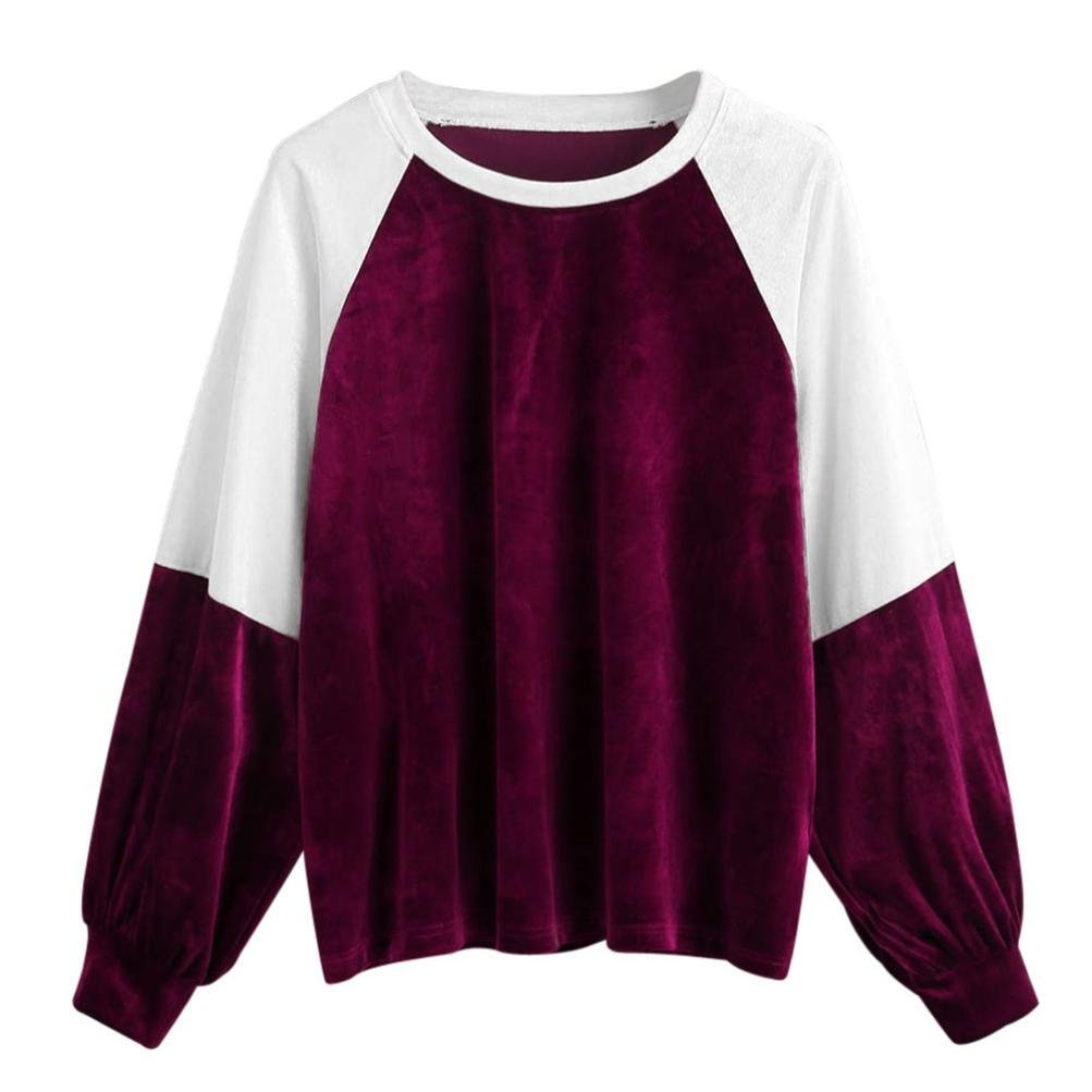 Junshion Womens Patchwork Velvet Long Sleeve Casual Sweatshirt Pullover Tops Blouse