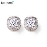 LUOTEEMI White Gold Princess Cut Sparkling Cubic Zirconia Women Noble Dinner Party Dress Accessory Jewelry Earrings