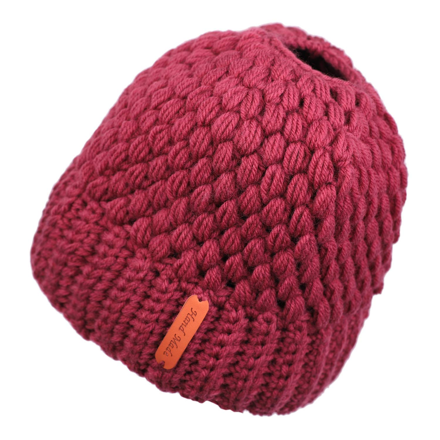 1ef06129b70 Get Quotations · Flammi Women s Soft Stretch Crochet High Bun Ponytail Beanie  Hat