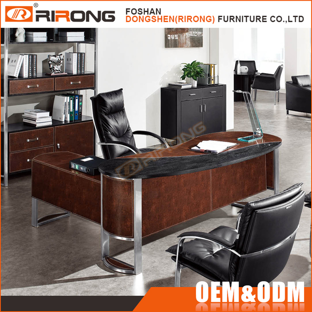 Modern One Stop Office Furniture Set Leather Covered Curved Office Table  And Chair Price
