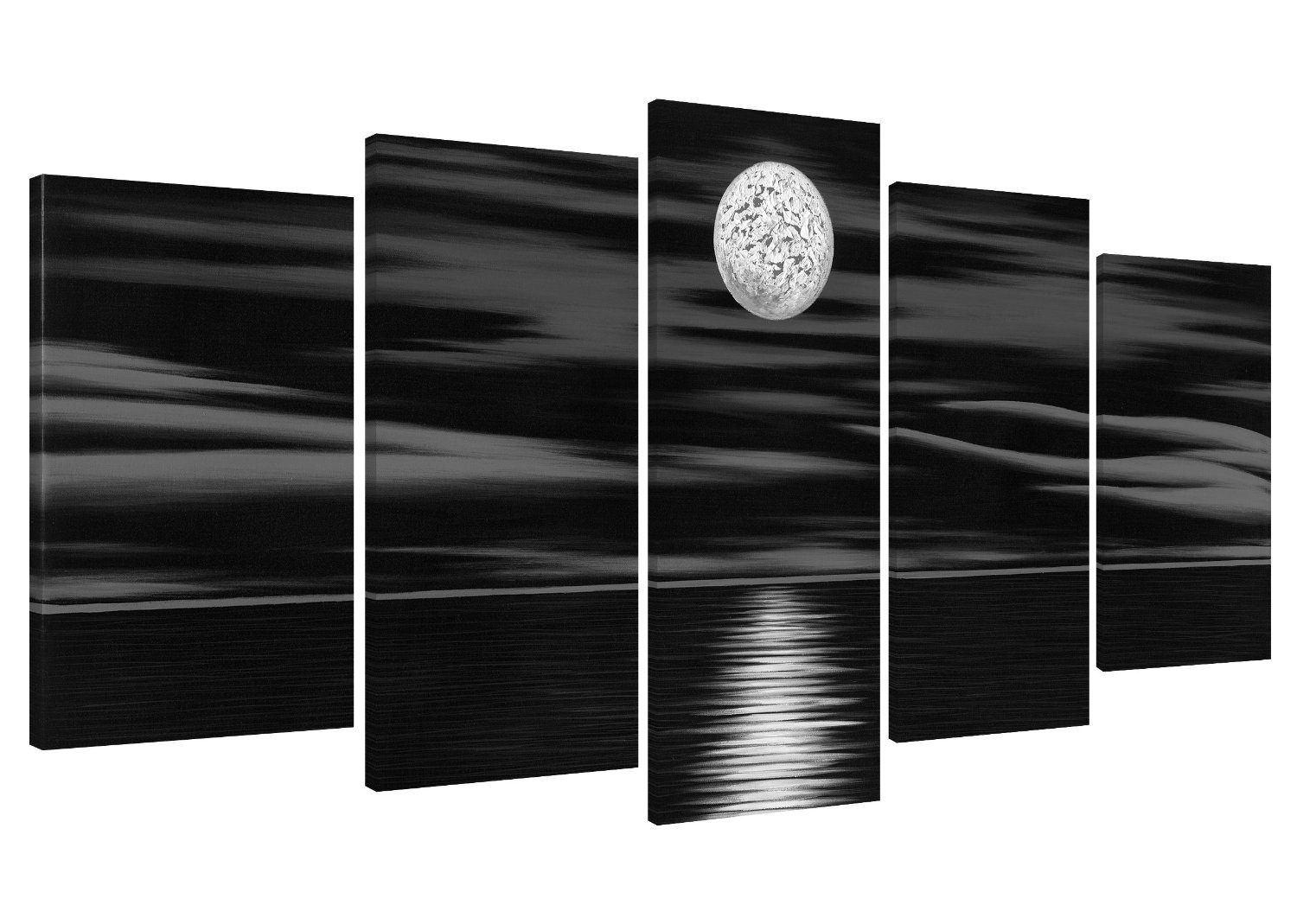 Get Quotations · Wieco Art   Sea White Full Moon In Night 5 Piece 100% Hand  Painted Wrapped