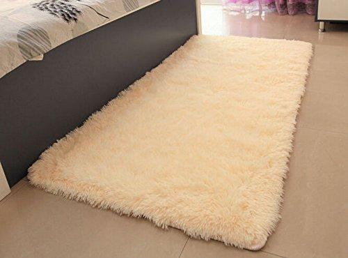 ACTCUT Super Soft Indoor Modern Shag Area Silky Smooth Fur Rugs Fluffy Anti-skid Shaggy Area Rug Dining Living Room Carpet Comfy Bedroom Floor 4- Feet By 5- Feet (Beige)