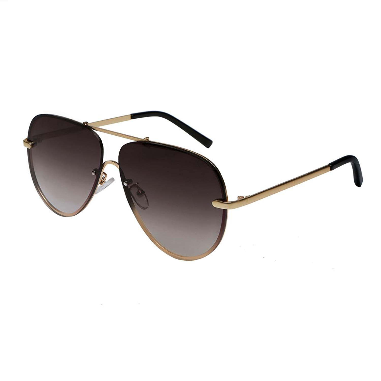 4096dffebc Hoishing Retro Aviator Rimless Frame Sunglasses for Women and Men Flat  Mirrored Lens UV400 Protection (