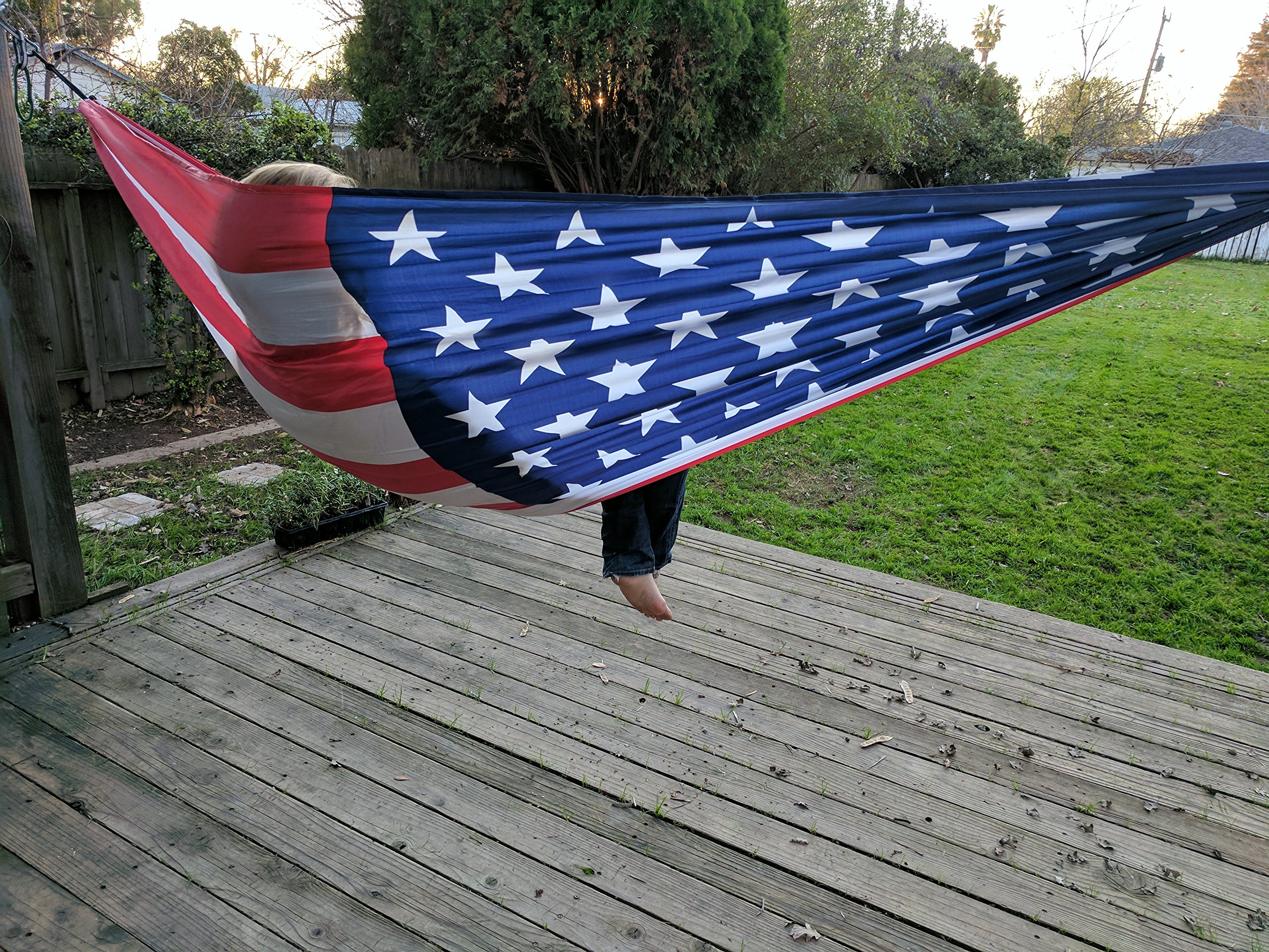 Freedom Flag American Flag Hammock; Portable Double Wide Parachute Camping Hammock with Patriotic USA Flag design