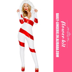 Christmas Hot Popular Costumes Women Candy Cane Catsuit With Hooded