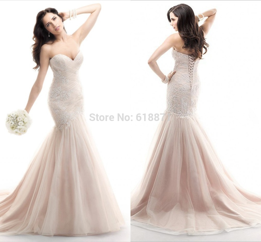 88ba67db02 Get Quotations · Fashion Pink Sweetheart Mermaid Wedding Dresses 2015 Tulle  Skirt Backless Floor Length Strapless Bridal Gown Robe