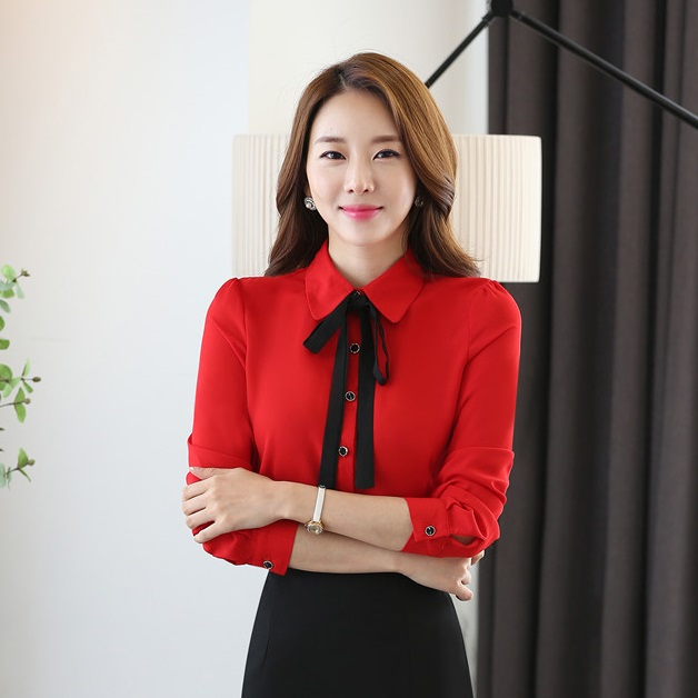 8f9499c88a Female Formal Ladies Red Blouses Women Shirts Long Sleeve Office Uniform  Blouse and Tops Female OL Style