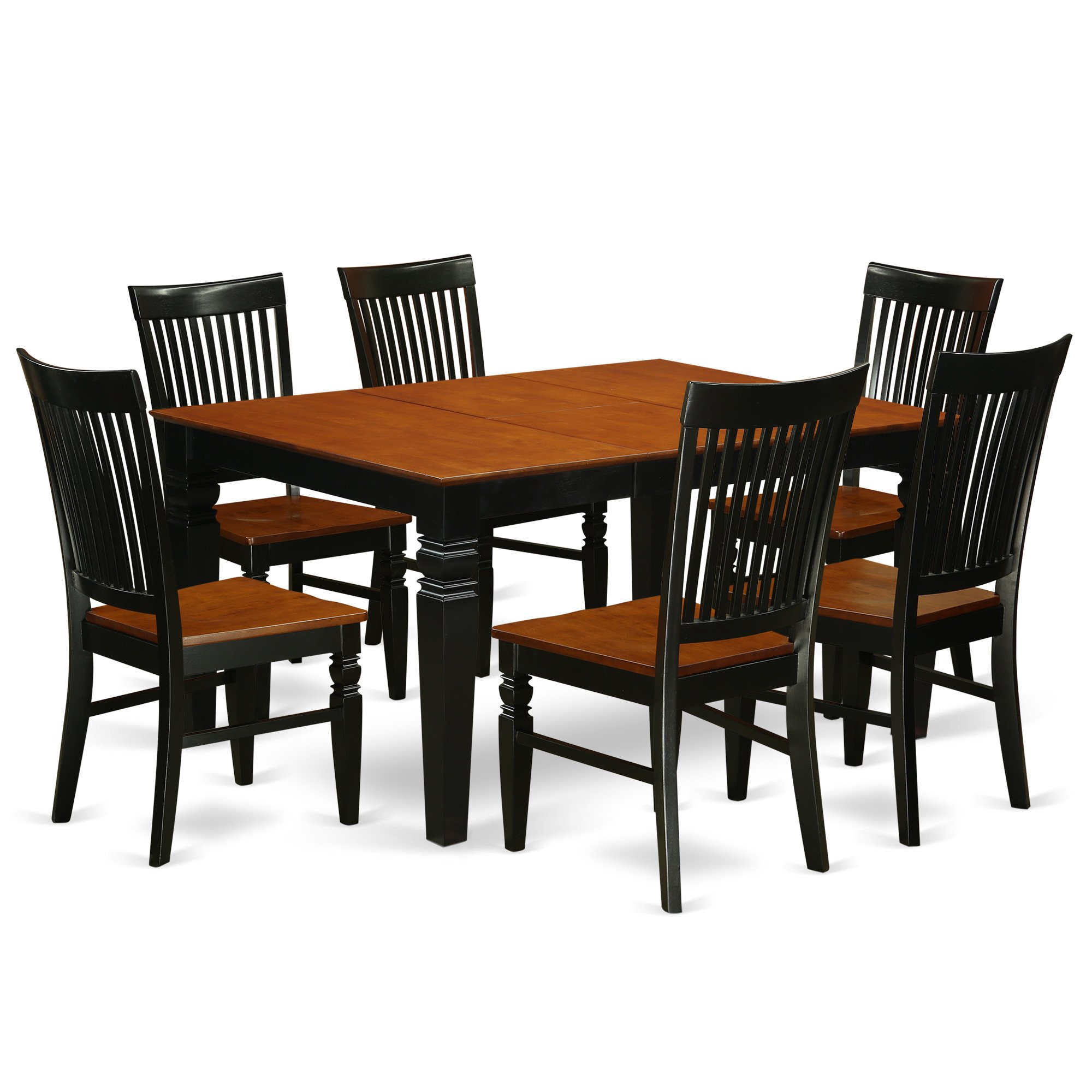 East West Furniture WEST7-BCH-W Weston, 7 Piece, Black And Cherry