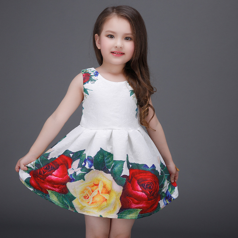 Summer Baby Girls Dresses Beach Sleeveless Vest Skirt Printed Flower Kids Dresses