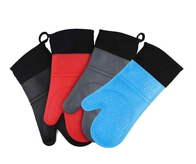 Professional Silicone Oven Mitts Heat Resistant Commercial Grade Extra Long Quilted Cotton Lining Arm Guard- BBQ Grill