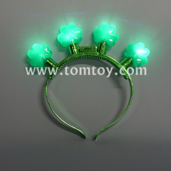 Mardi Gras Green Shamrock LED Flashing Light Up Headband for St. Patrick's Day