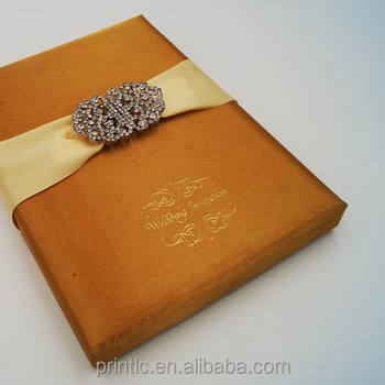 Customize Luxury Silk Wedding Invitation Card Box With Brooch Indian