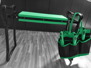 5-piece garden tool set with tote and folding seat