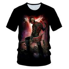 Мужская футболка с 3D-принтом черепа, призрака, пламени, гитары и темного цвета, готика(Китай)