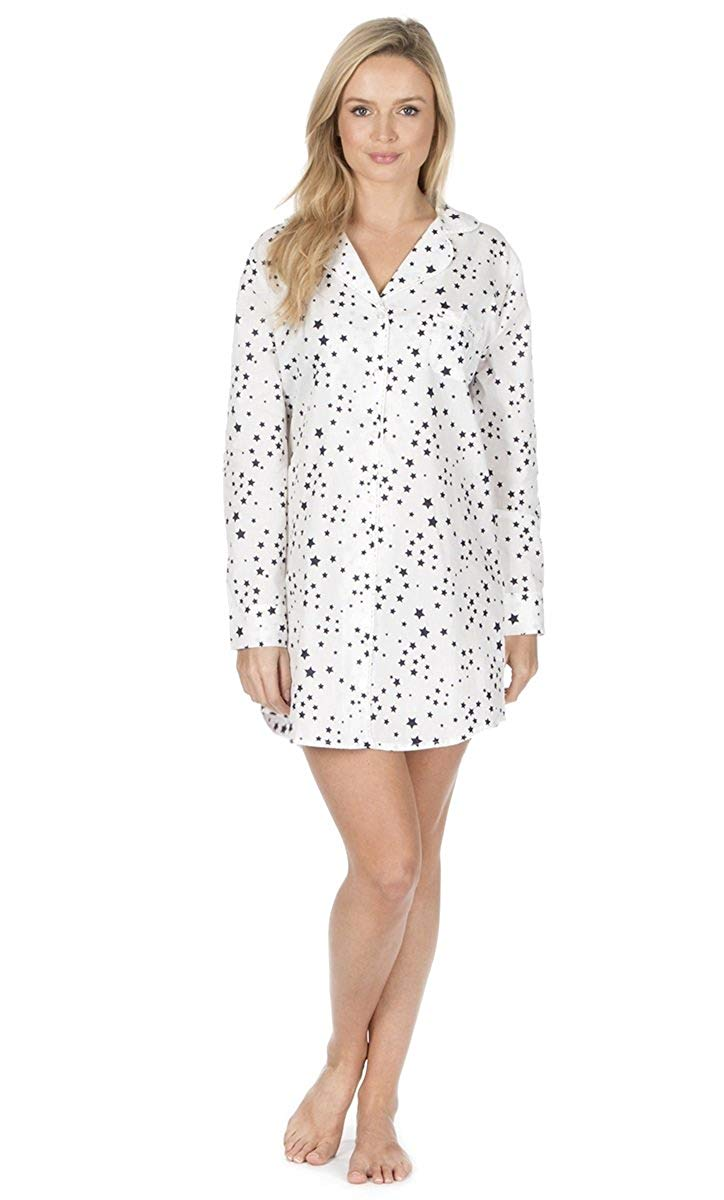 Get Quotations · Cottonique Ladies Woven Button Front Nightdress 75fe1f120