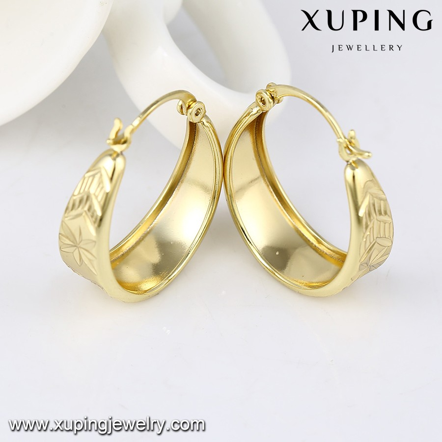 92994 Xuping 3 Gram Gold Beautiful Designed Earring 14k Color Ring Type Earrings