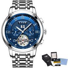 2020 LIGE механические наручные часы люксовый бренд Мужские часы Автоматические синие из нержавеющей стали водонепроницаемые бизнес часы мужс...(Китай)