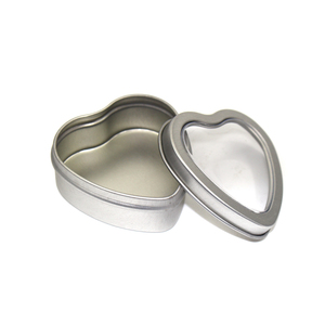 small metal box candy tin with window for food heart shaped tin box wedding favor box tin