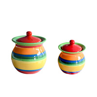 Large Small Colored Stripes Freehand Sketching Ceramic Tea Storage Jar