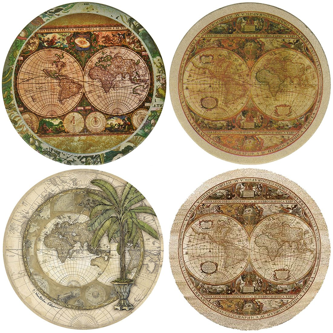 QIMOUSE Coasters Non Slip, Ceramic Old World Map Design Coasters Set of 4